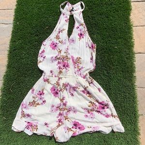 American Eagle High Neck Floral Romper